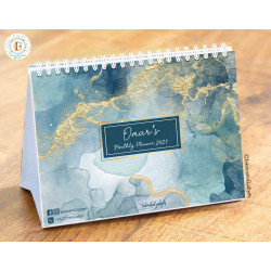 InterestinGadgets Personalized Monthly Desk Calendar for 2021, Marble