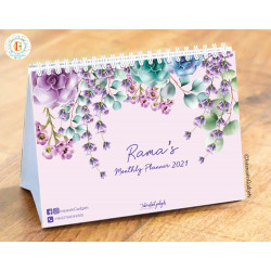 InterestinGadgets Personalized Monthly Desk Calendar for 2021, Floral