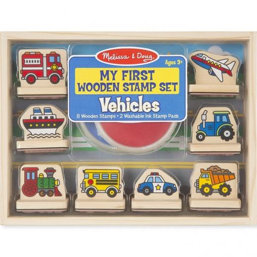 Melissa & Doug My First Wooden Stamp Set - Vehicles