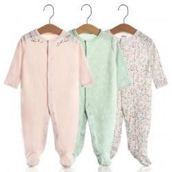 Colorland Long-Sleeve Baby Overall 3 Pieces In One Pack 0-3 Months