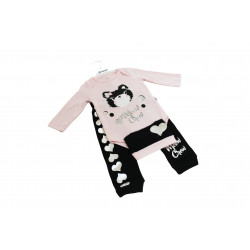 Miniword Body Pink and Black Cat 3-6 Months