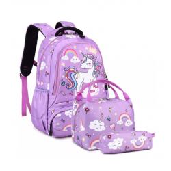 Genioworld 3pcs Students Unicorn Bookbag Set - Purple