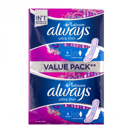 Always Platinum Ultra Thin Extra Long Night Value Pack Pads 12Pcs