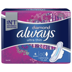 Always Diamond Ultra Thin Extra Long Sanitary Pads With Wings - 6 Pieces
