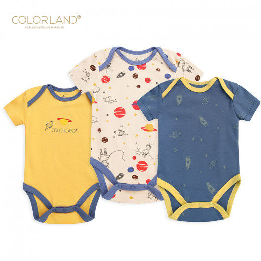 Colorland - (6) Baby Bodysuit 3 Pieces In One Pack, 0-3 Months, Space