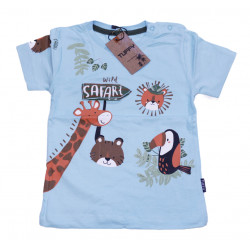 Baby Blue Short Sleeves T-shirt with Safari Design, 6 Months