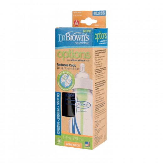 """Dr. Brown's 270ml Wide-Neck """"Options"""" Glass Baby Bottle, 1-Pack"""