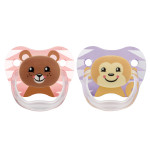 Dr. Brown's 2 Pack Prevent Orthodontic Bear-Monkey Pacifier with Clip -(6-12 Months)