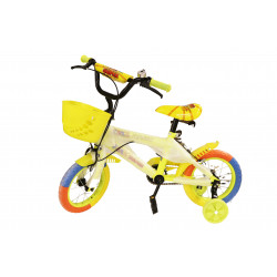 Kids Bicycle Stainless Steel with Yellow Basket 12 Inch, Yellow