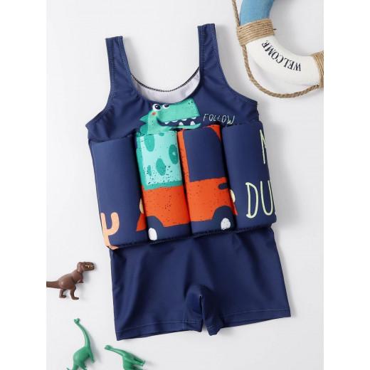 ملابس سباحة من قطعة واحدة للأطفال الصغار على شكل ديناصور كرتوني ، من 3-4 سنوات