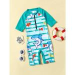 ملابس سباحة من قطعة واحدة للأطفال الصغار مع سحاب بتصميم السمك، من 5-6 سنوات