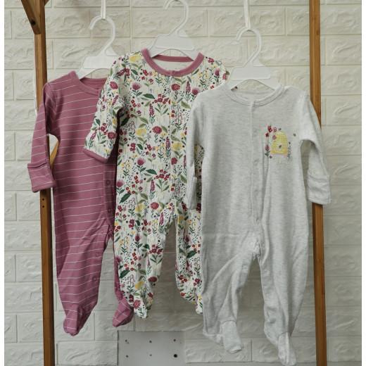 قطع ملابس طويلة الأكمام للأطفال  3 قطع في عبوة واحدة 0-3 أشهر من كالور لاند