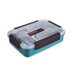 Tedemei Stainless Steel Insulated 3 Grid Lunch Box, 700 ml - أزرق