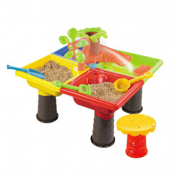 طاولة بلاستيكية دائرية من الرمل والماء مع غطاء ، شجرة دائرية مع شريحة ، 25 قطعة
